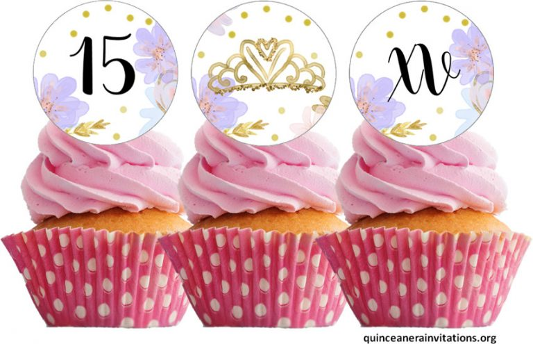 Printable Quinceanera Cupcake Toppers