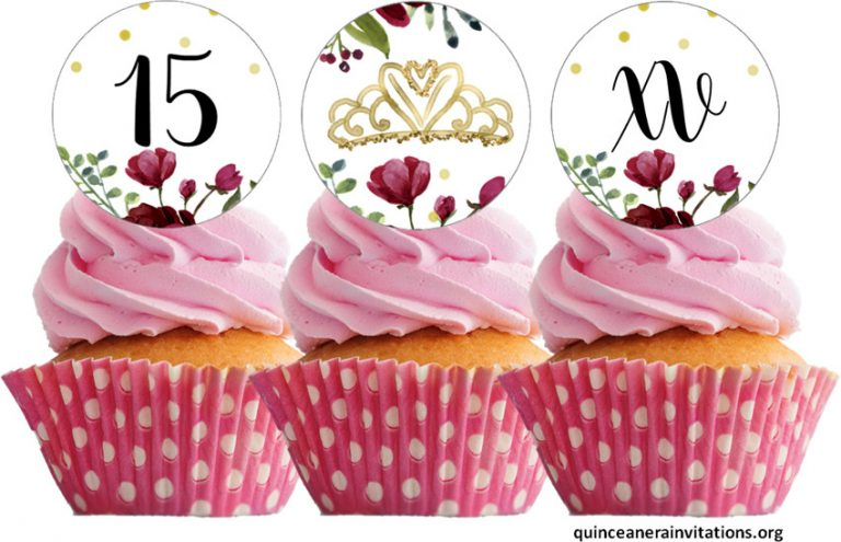 15th cupcakes Toppers