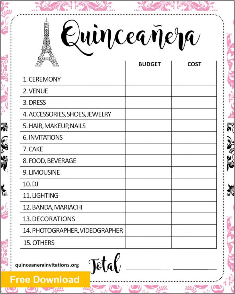 Quinceanera Budget Template
