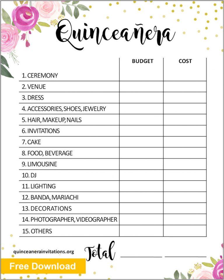 Quinceanera Budget Templates