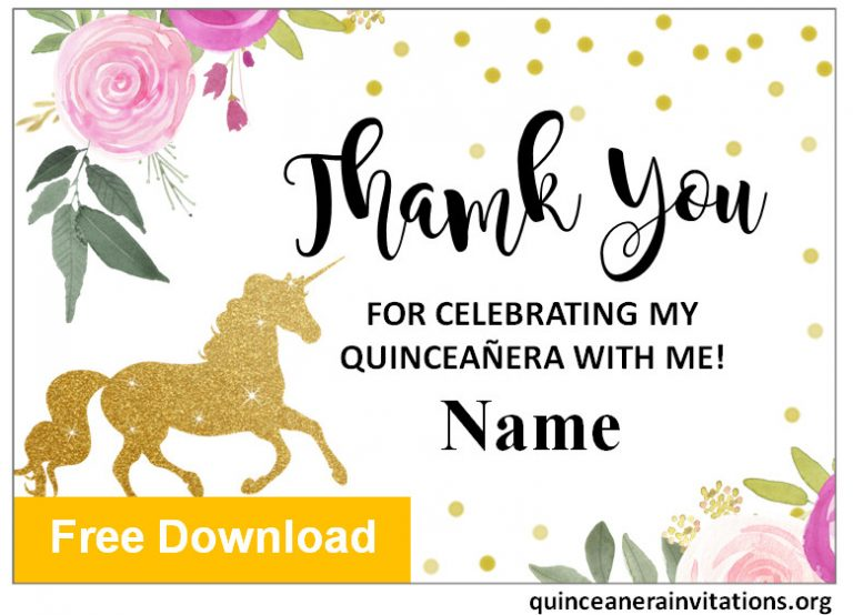 Unicorns Quinceanera Thank you Cards
