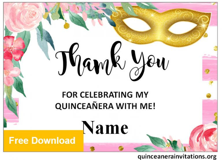 quinceanera thank you cards