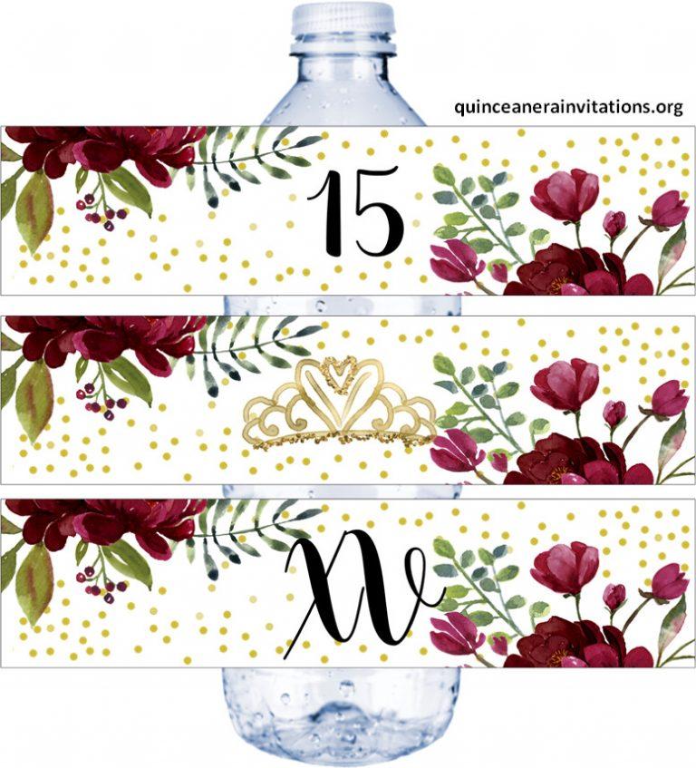 Quinceanera Water Labels